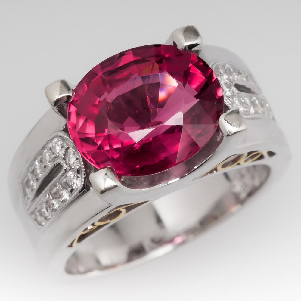 Simon G Pink Tourmaline Cocktail Ring 18K White Gold Diamond