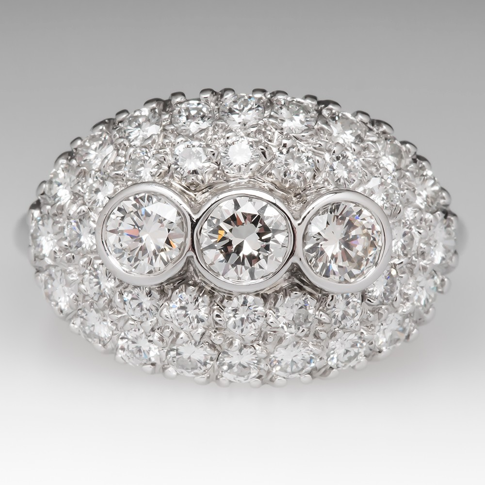 Vintage Low Profile Diamond Encrusted Ring 14K White Gold