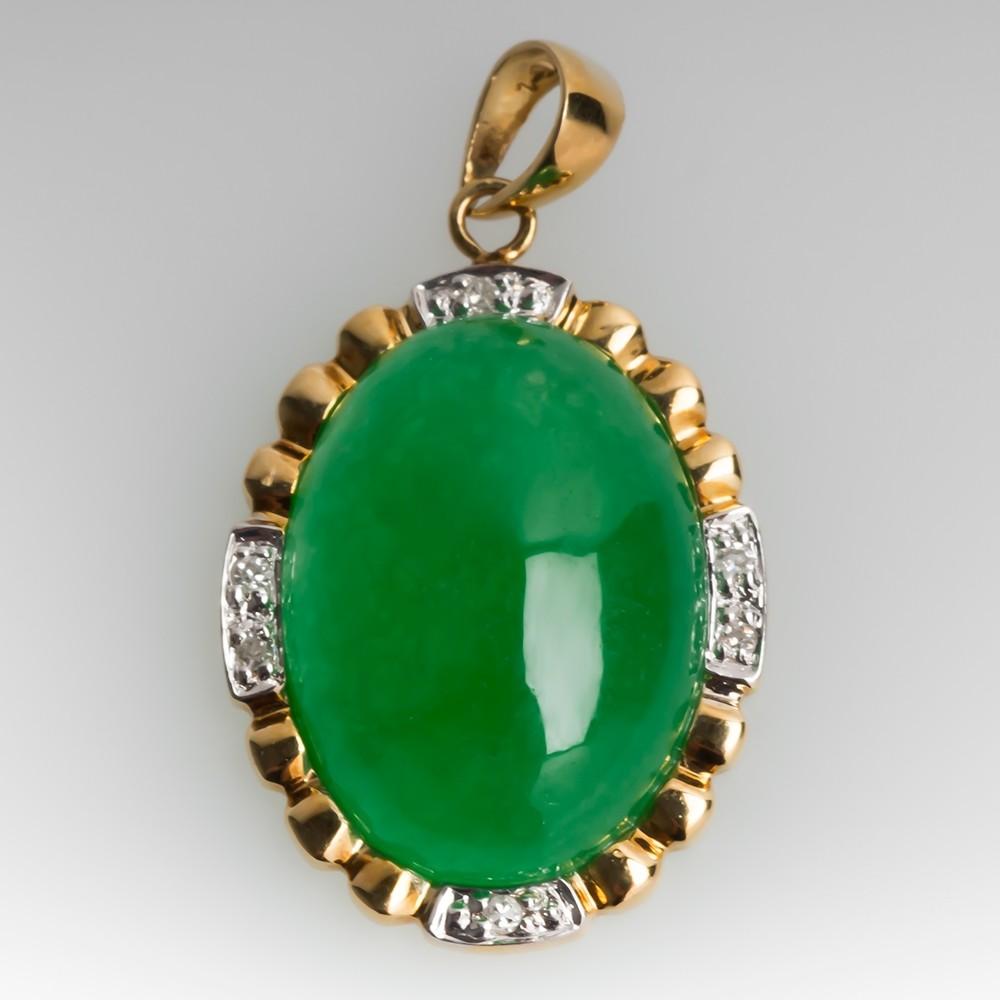 Dyed Jadeite Pendant w/ Diamonds 14K Gold