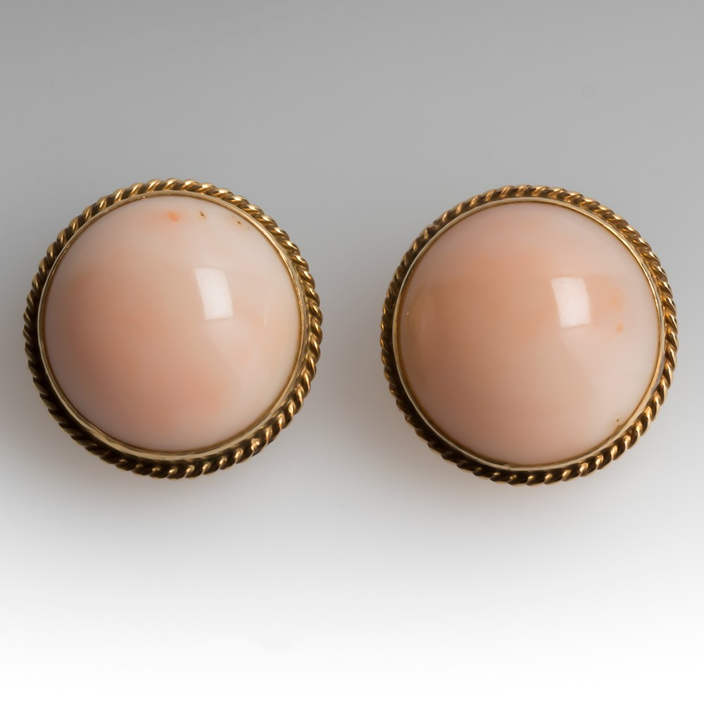 Vintage Angel Skin Coral Bezel Earrings 14K Yellow Gold