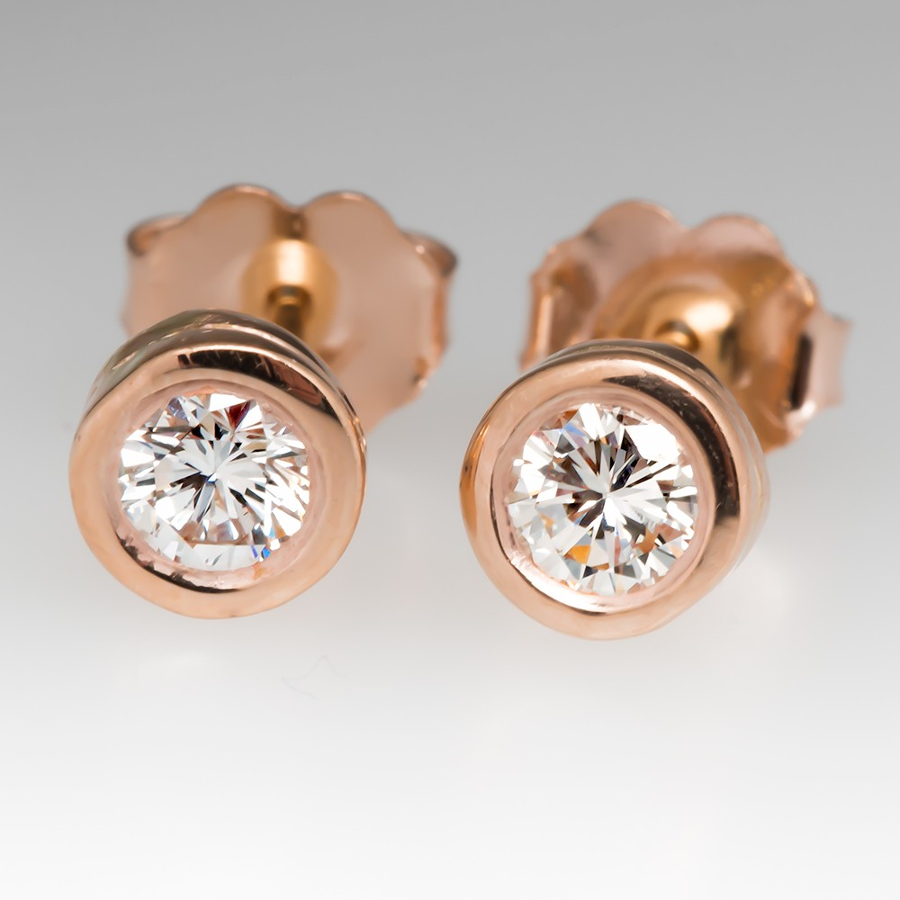 14K Rose Gold Bezel Diamond Stud Earrings .40 CTW