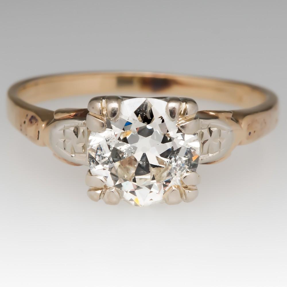 Retro Vintage Diamond Engagement Ring 1 Carat Old Euro