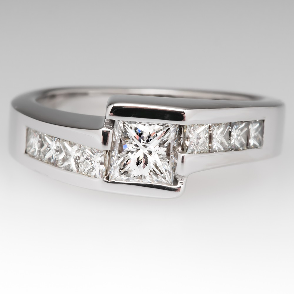 Princess Cut Diamond Engagement Ring Bypass 14K White Gold