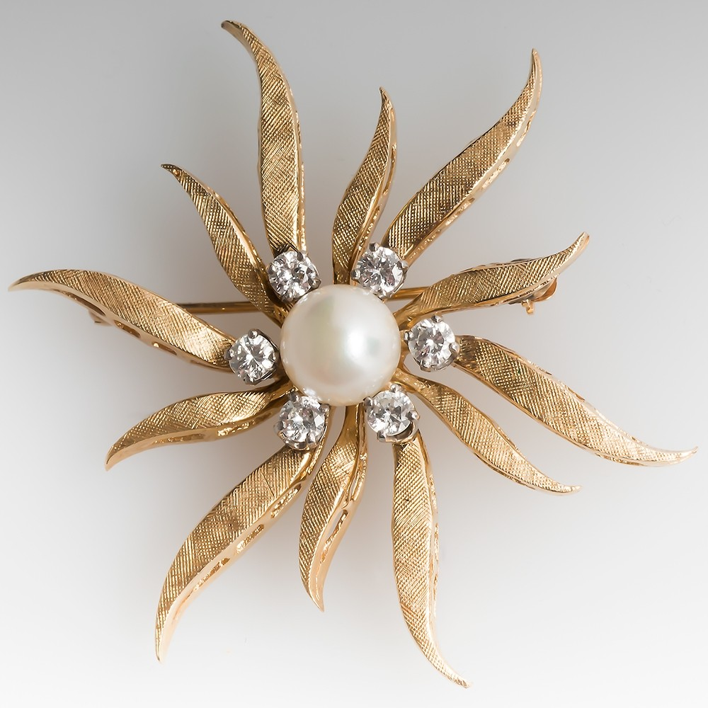 Vintage Pearl & Diamond Starburst Brooch Pin 14K