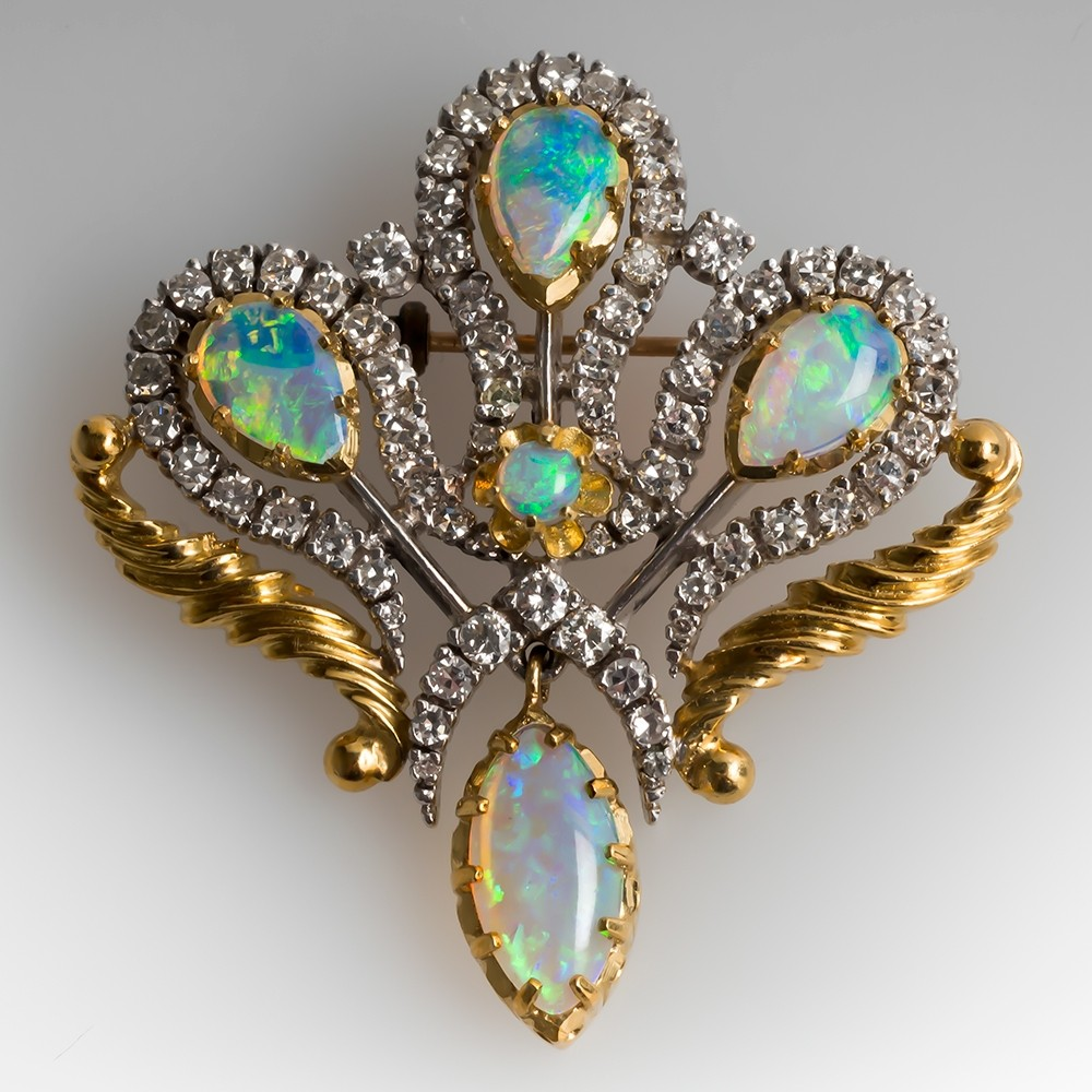 Vintage Crystal Opal & Diamond Pendant Brooch 18K Gold