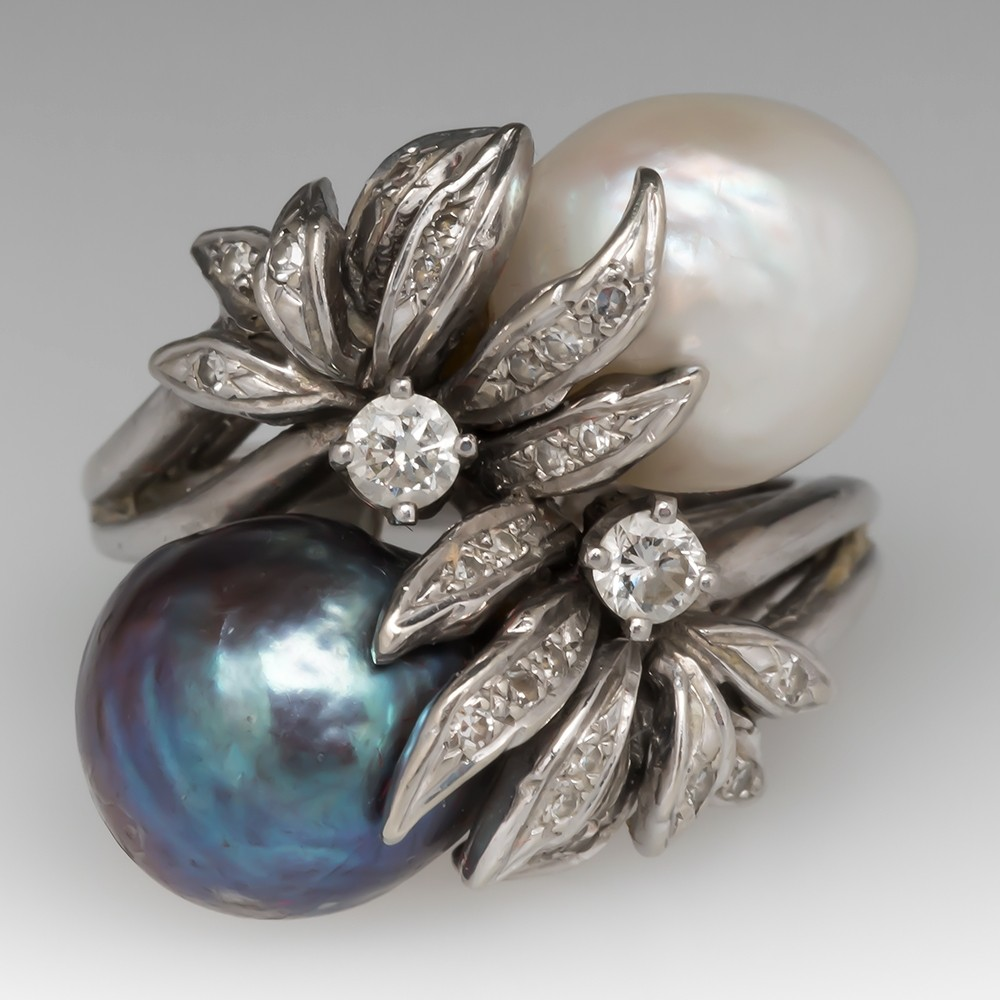 Vintage Black & White Baroque Pearl Bypass Cocktail Ring 14K
