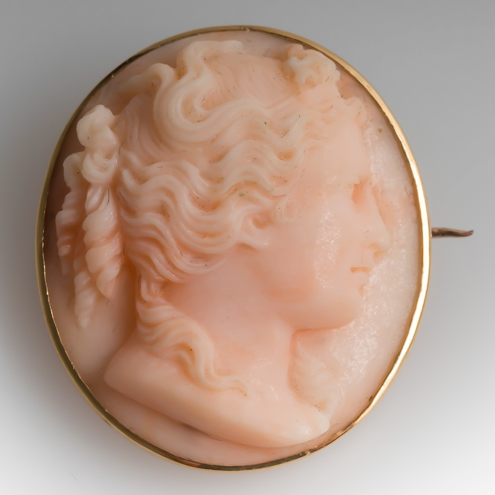Victorian Coral Cameo Pin Maiden in Profile
