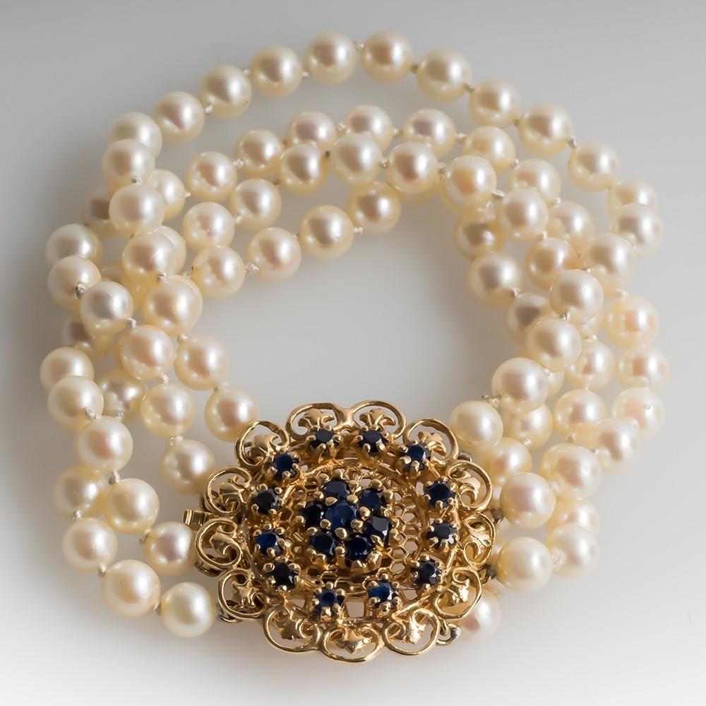 Vintage Pearl Cuff Bracelet 14K Gold & Blue Sapphire Clasp