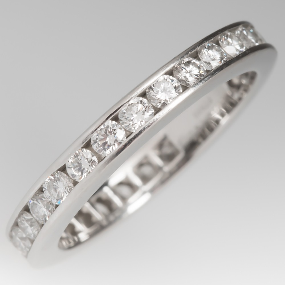 Tiffany Diamond Wedding Band 3mm 1CTW Platinum $5150 Retail