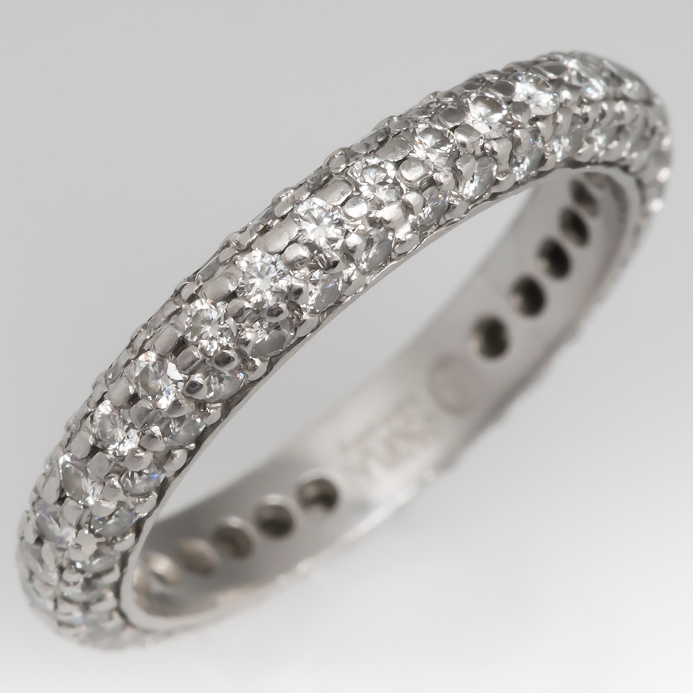 Pave Set Diamond Eternity Band Platinum Size 4.5