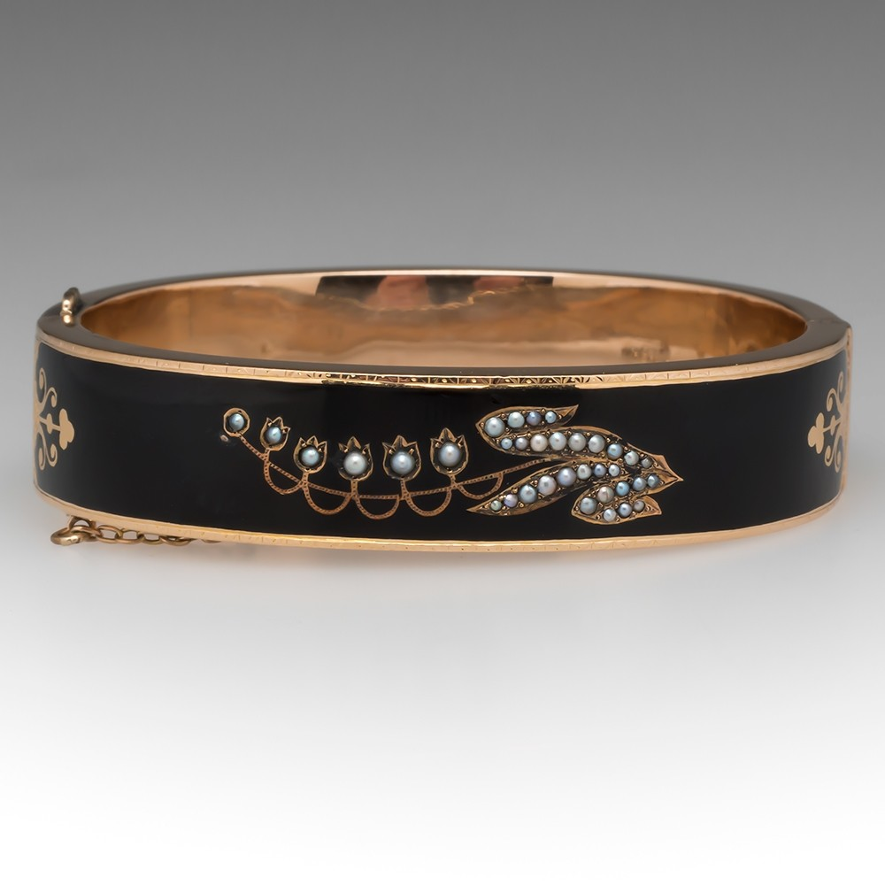 Victorian Mourning Cuff Black Enamel & Seed Pearls 14K