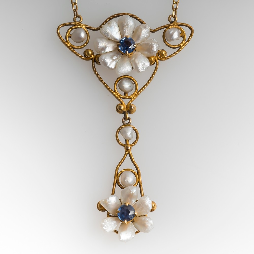 Crossman & Company Pearl & Sapphire Necklace 14K Gold C1904-1931