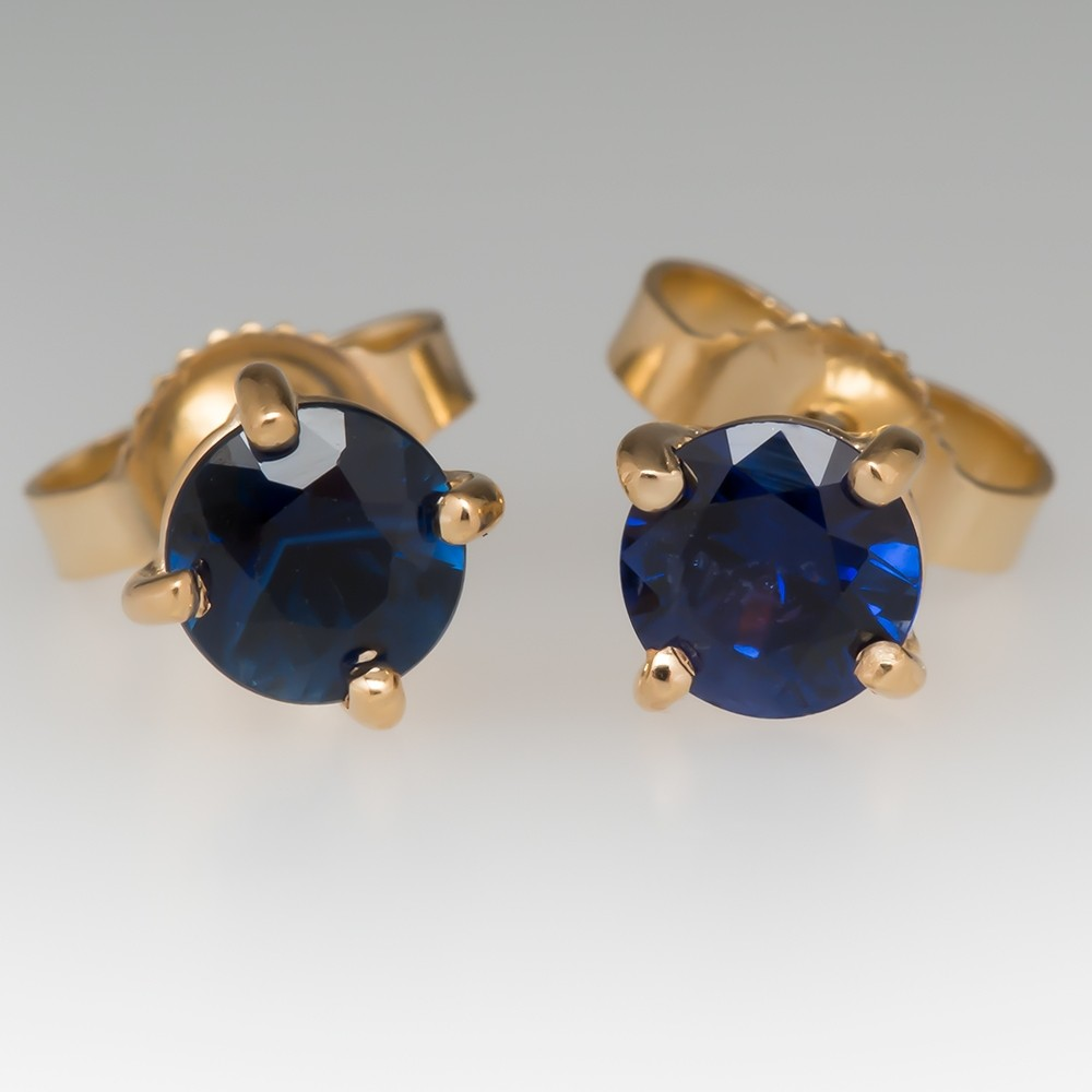 2/3 CTW Blue Sapphire Stud Earrings 14K Yellow Gold