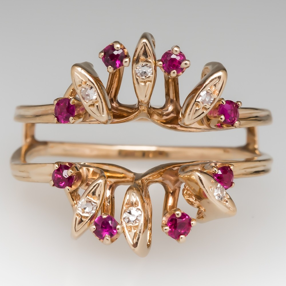1970's Ruby & Diamond Wedding Ring Guard 14K Rose Gold