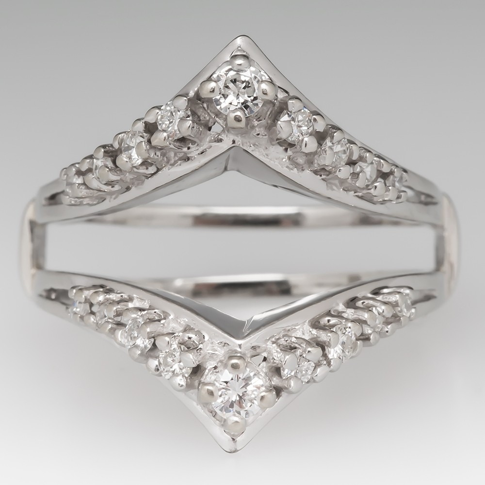 Vintage Diamond Wedding Ring Guard 14K White Gold