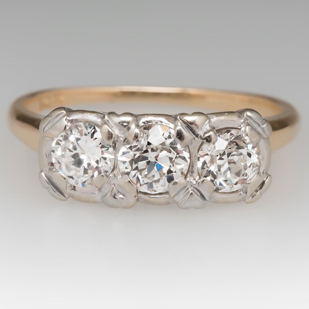 Three Stone Diamond 14K Two-Tone Gold Ring