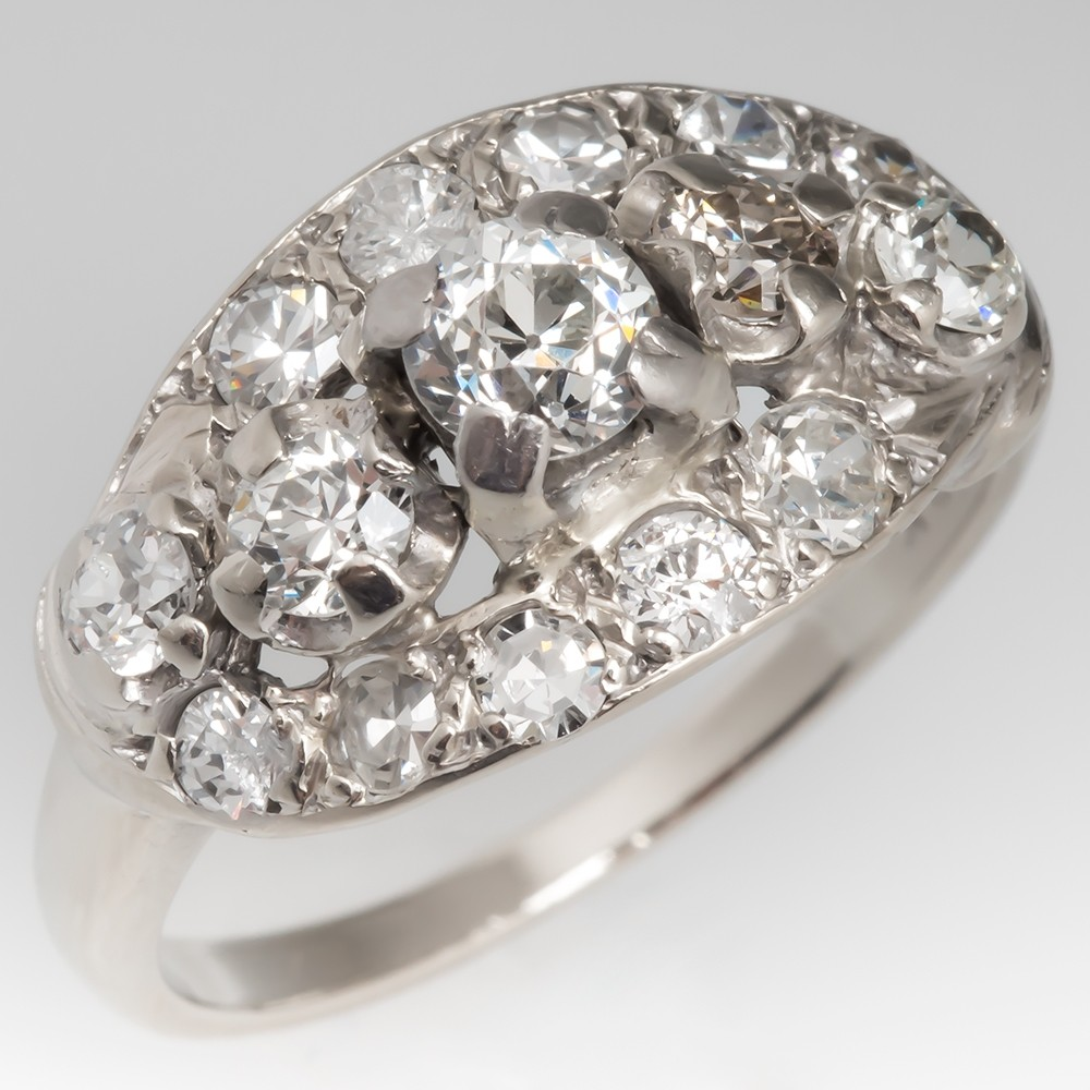 White Gold Engagement Ring 1930's Antique Diamonds