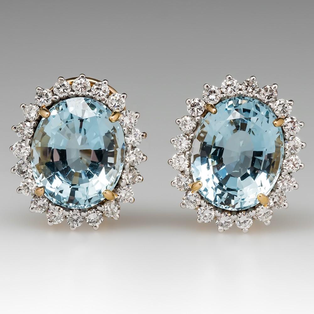 Large Aquamarine Diamond Halo Earrings 14K Yellow Gold