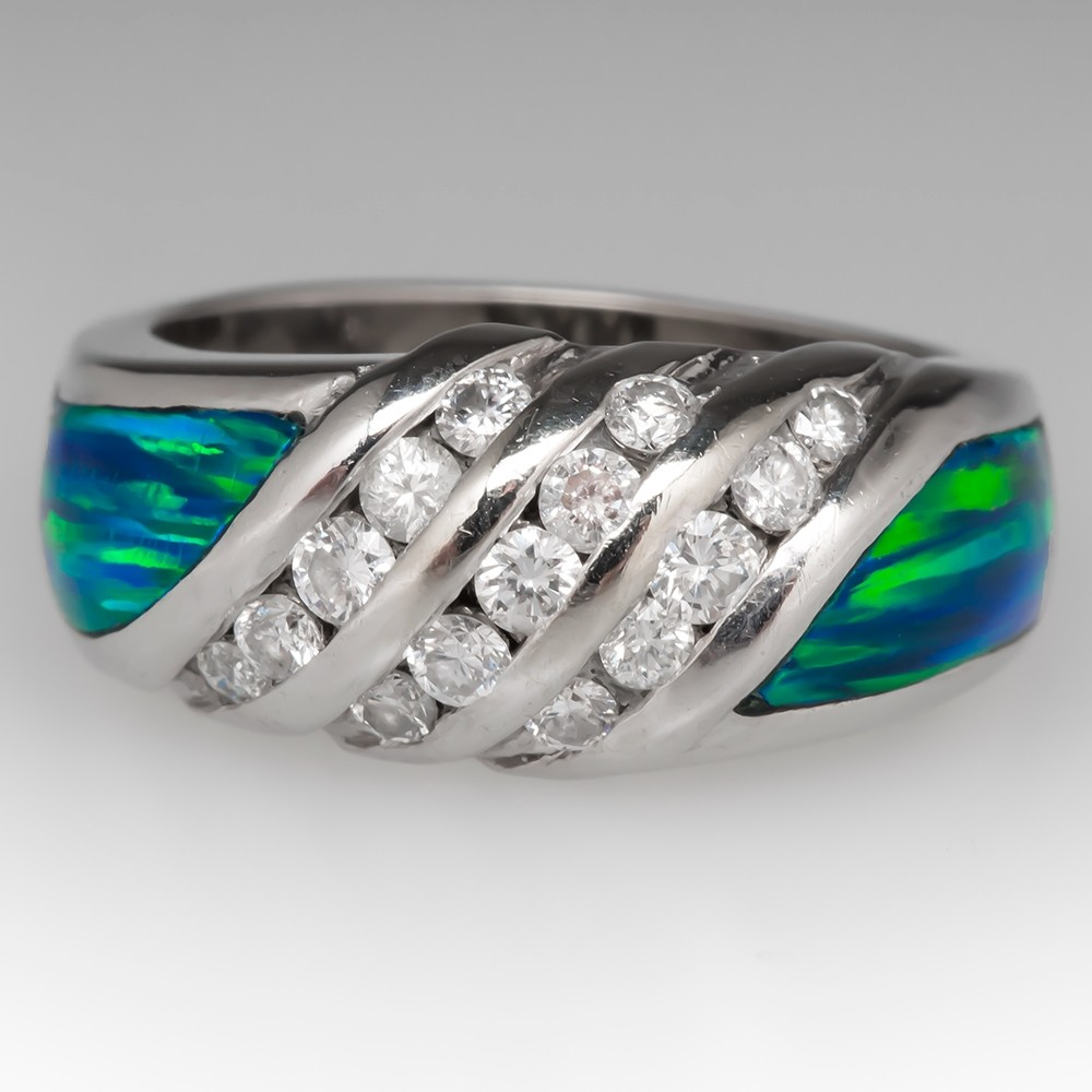Wide Band Diamond & Created Opal Inlay Ring 14K White Gold