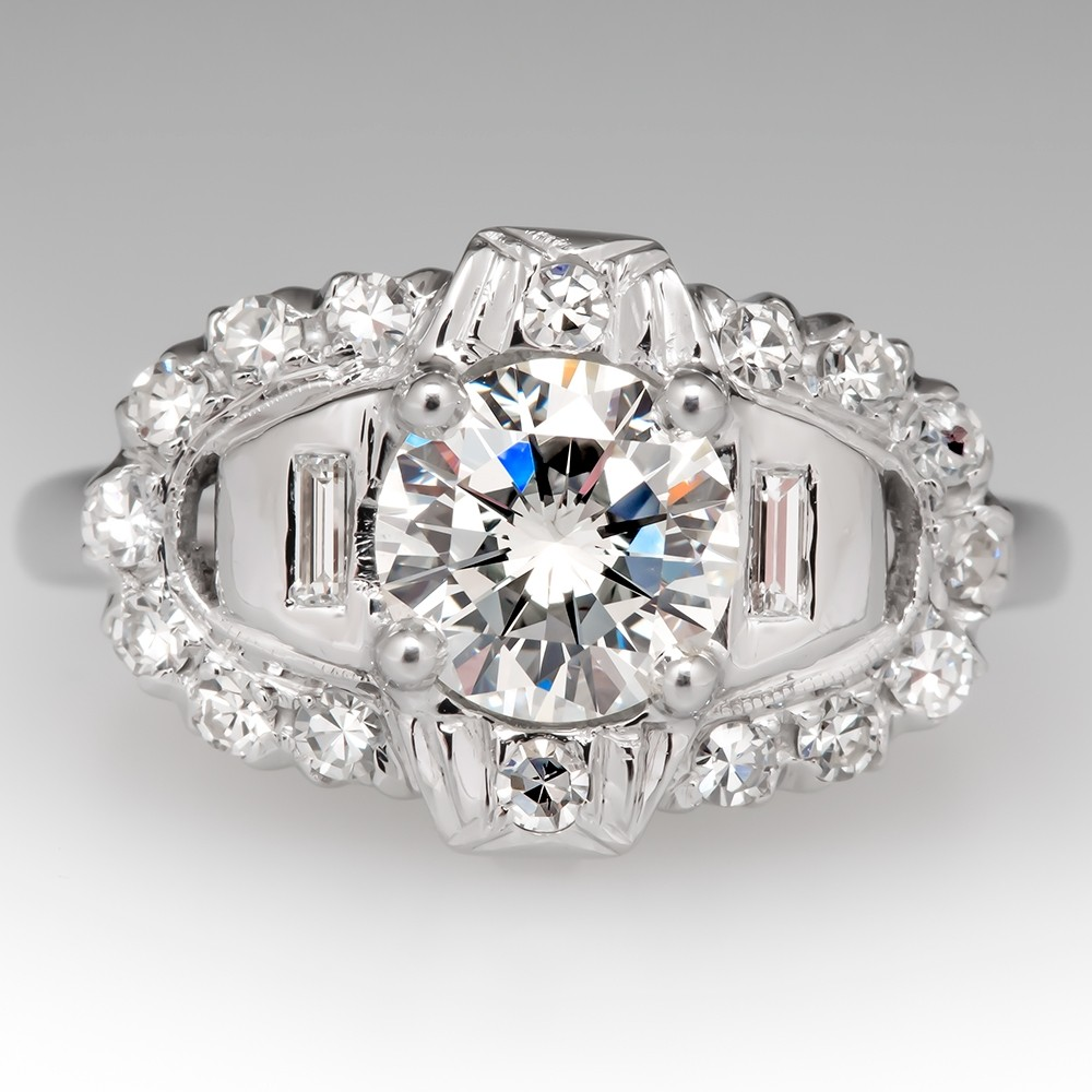 Vintage Engagement Ring 1 Carat Diamond H/VS2