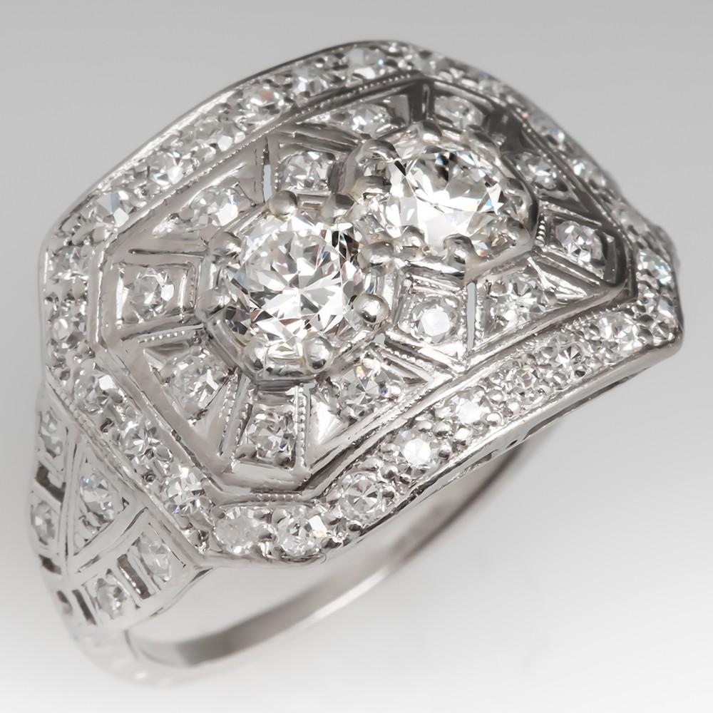Art Deco 1930's Filigree Diamond Ring Detailed Openwork Platinum