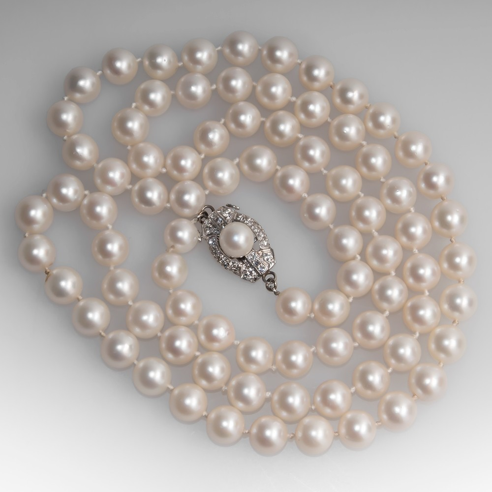Opera Length Vintage Pearl Strand Necklace with Diamond Clasp
