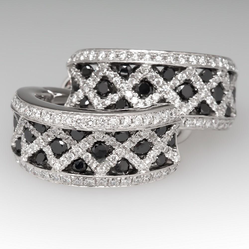 Spark Creations Black & White Diamond Earrings 18k Gold