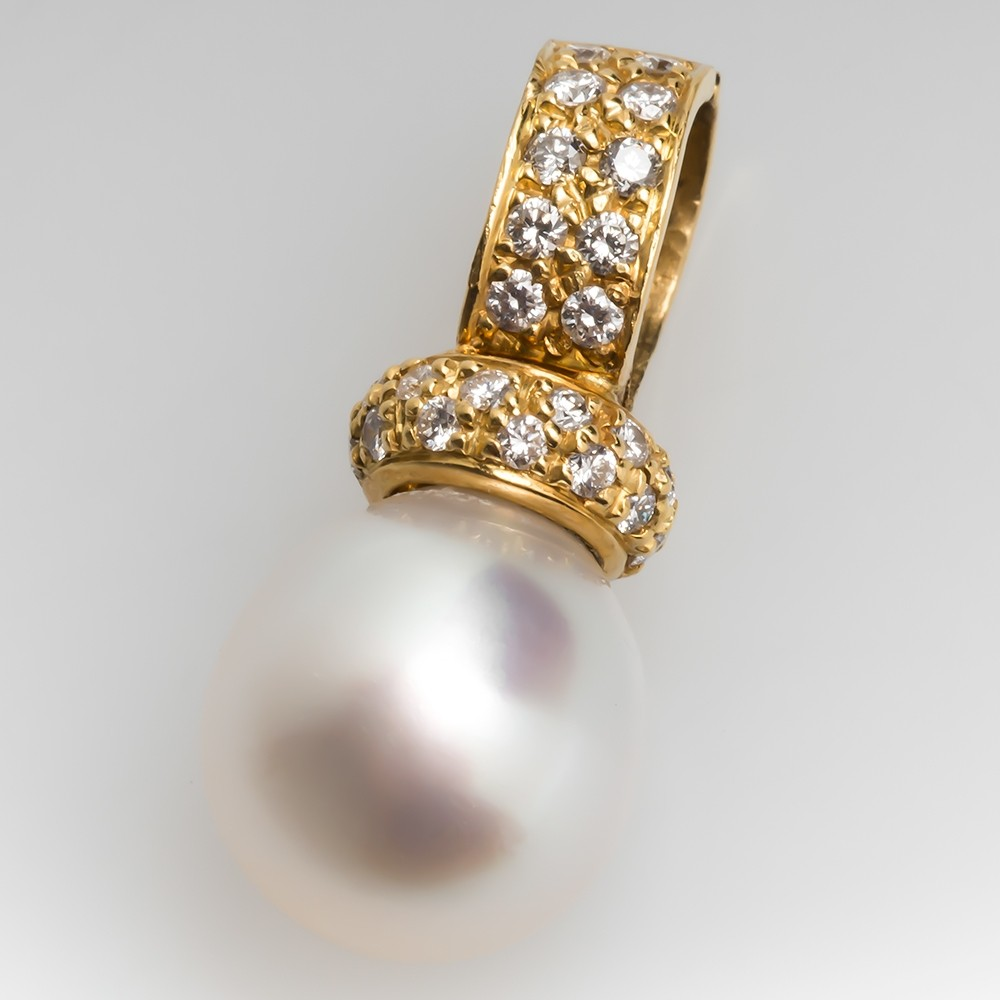Large Cultured Saltwater Pearl & Diamond Slide Pendant 18K Gold
