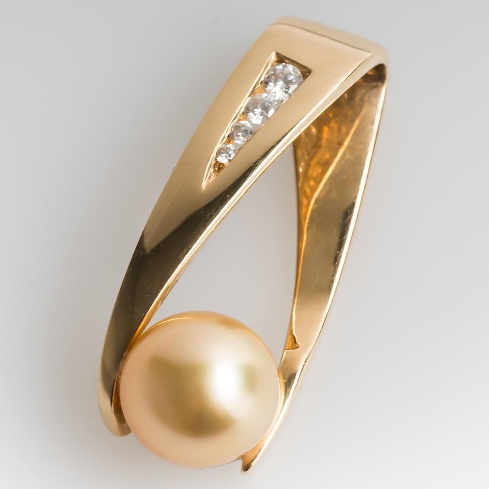Golden Colored Pearl & Diamond Slide Pendant 14K Gold