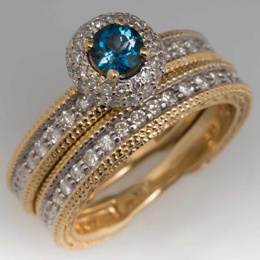 Green-Blue Topaz Diamond Halo Wedding Set Two-Tone 14K