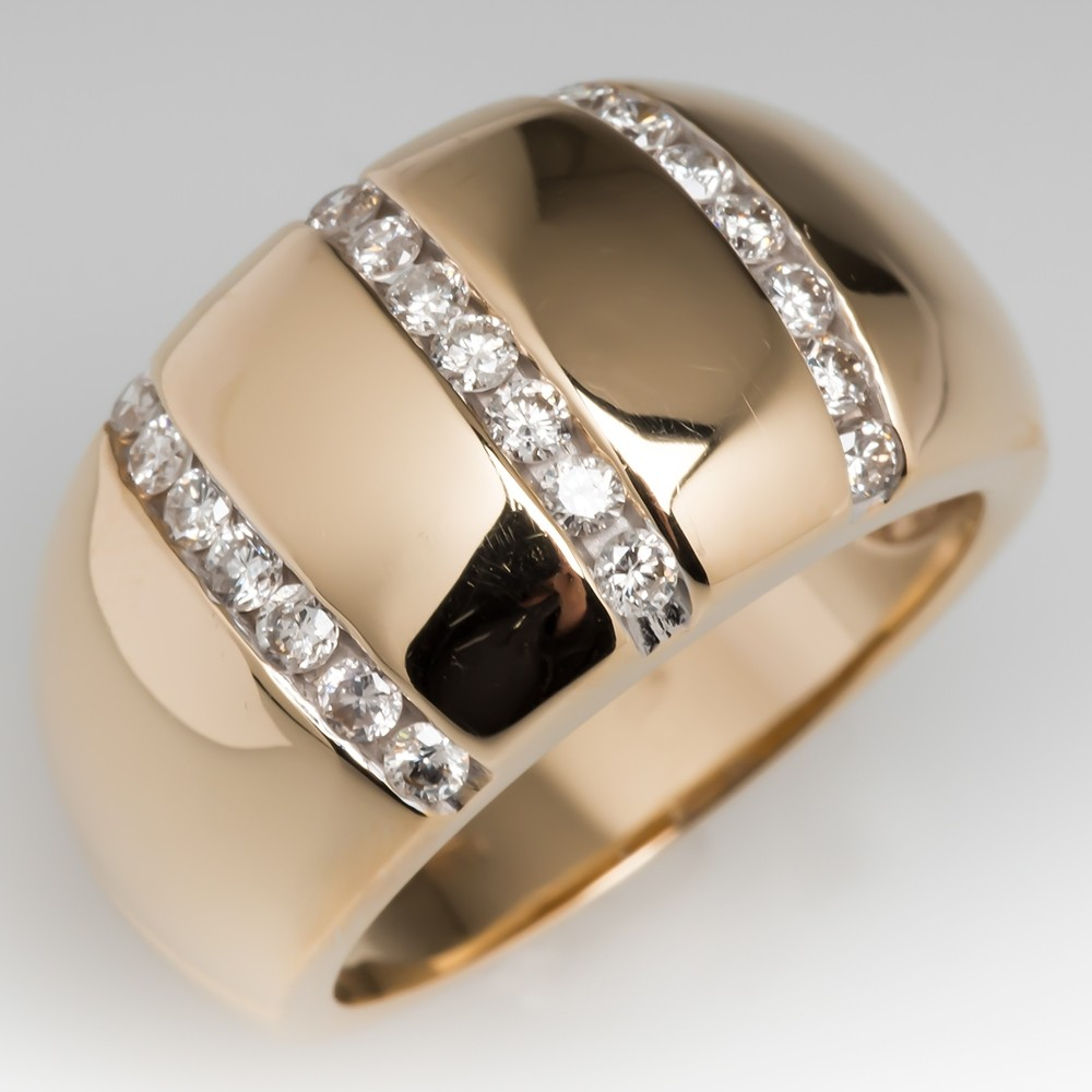 Estate 14K Yellow Gold Wide Band Diamond Ring
