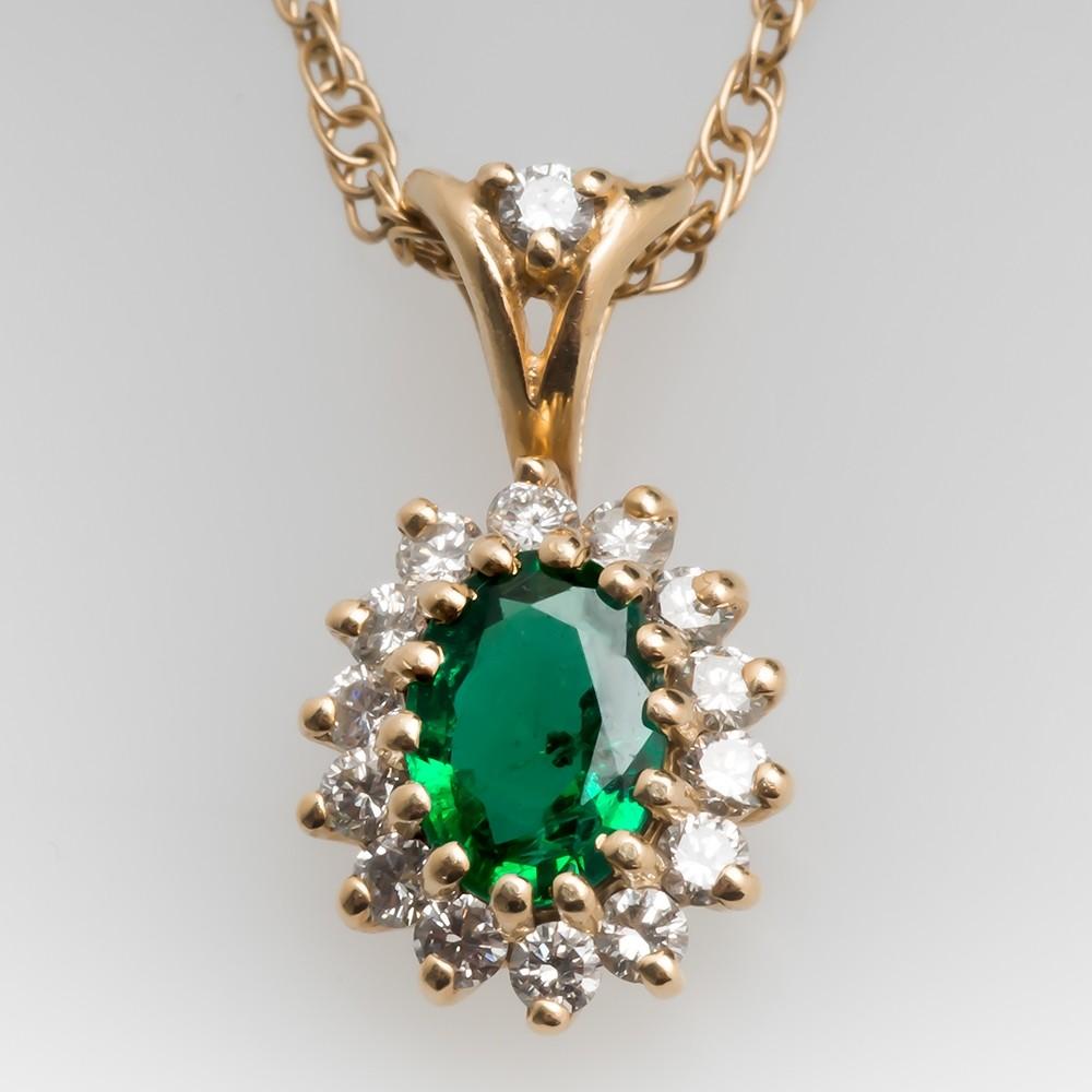 Emerald & Diamond Halo Slide Pendant Necklace 14K