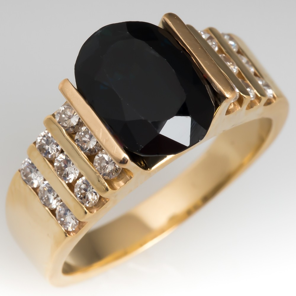 Estate Dark Green Tourmaline & Diamond Ring 14K Gold