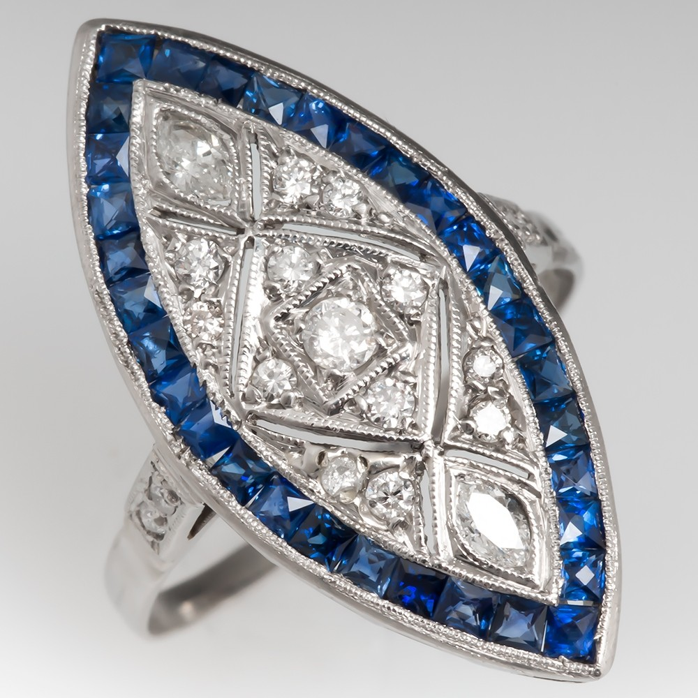 Vintage Diamond Sapphire Dinner Ring Filigree Openwork Platinum