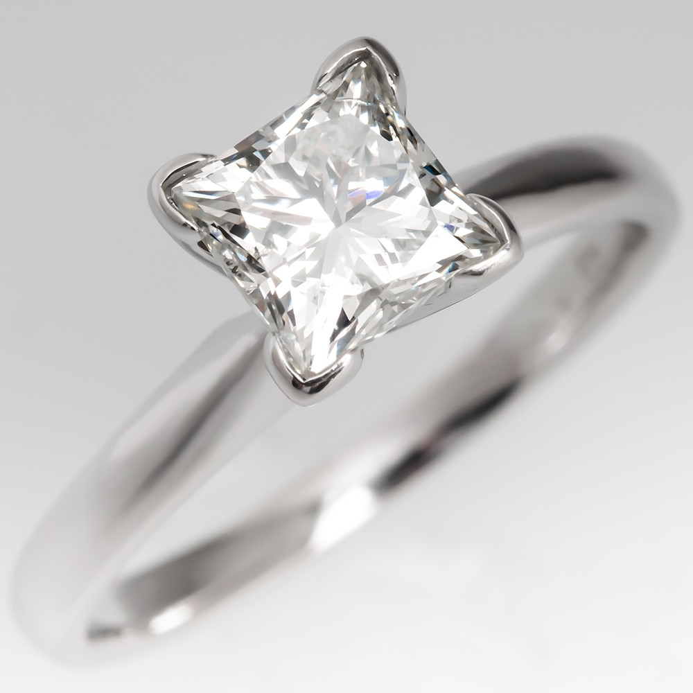 1 Carat Princess Cut Diamond Solitaire Engagement Ring 14K