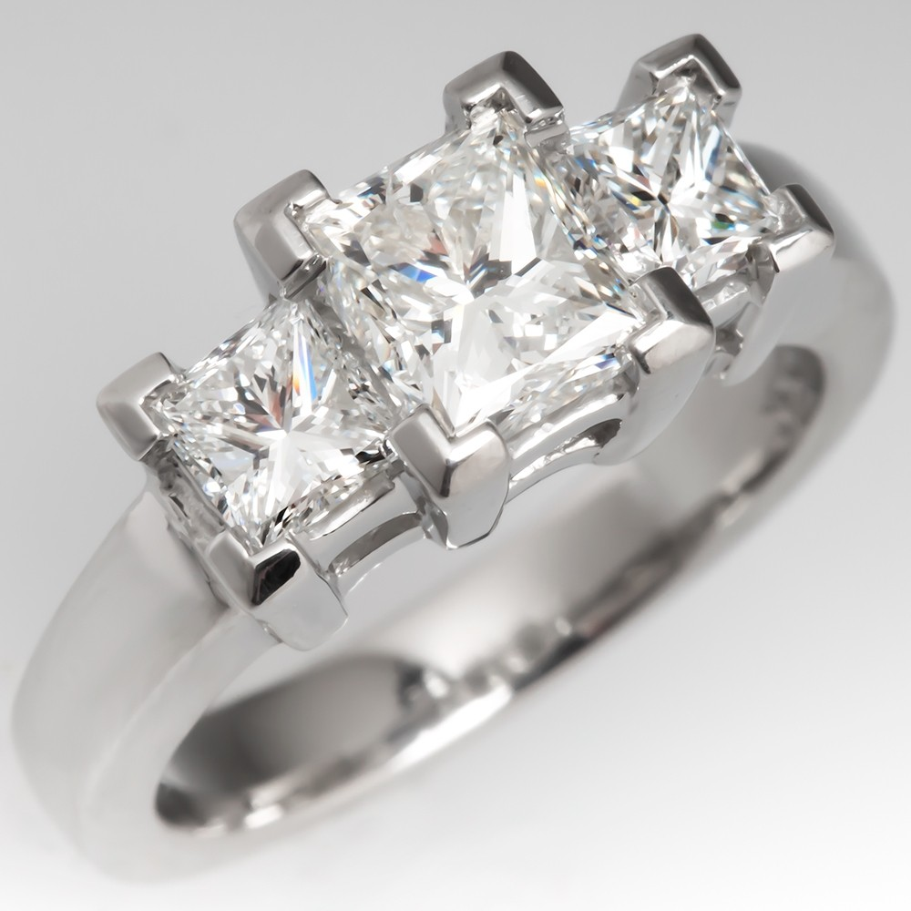 Modern Three-Stone Princess Cut Diamond Engagement Ring Platinum