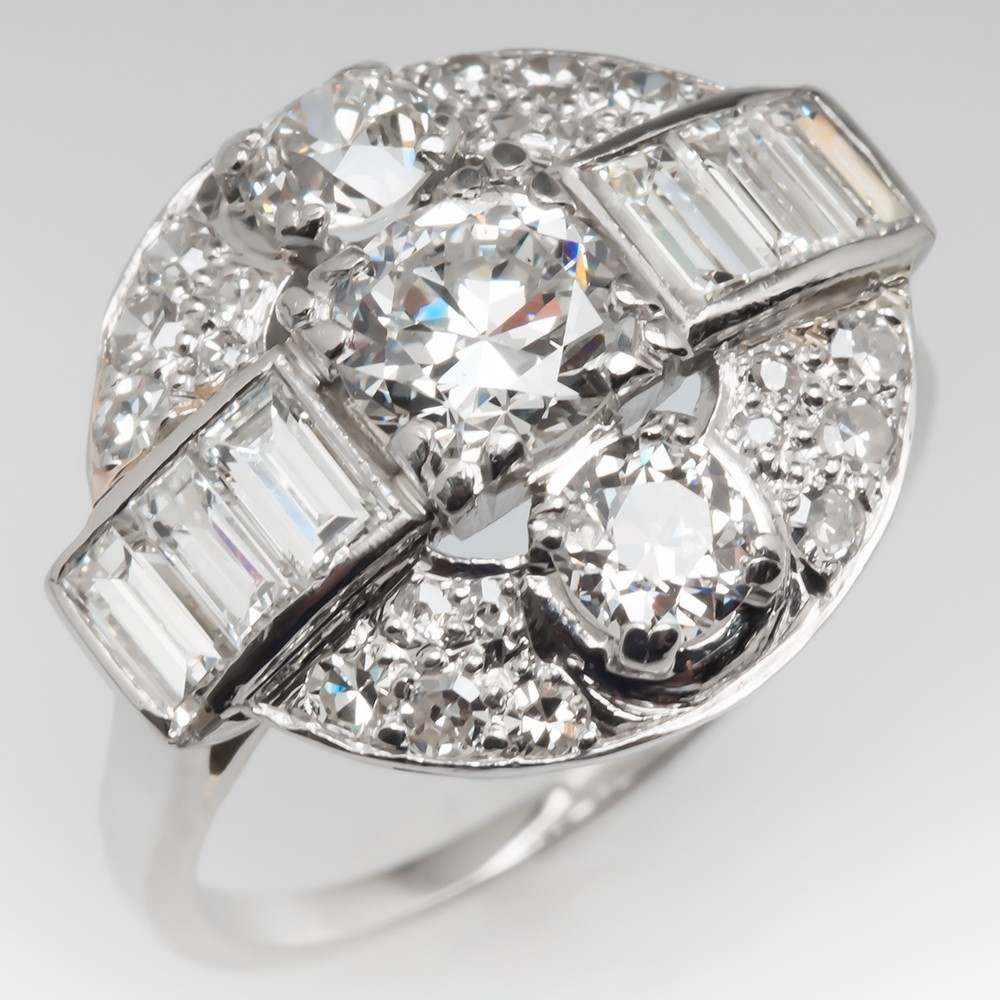 1930's Art Deco Diamond Ring Platinum w/Transitional Cut Diamond