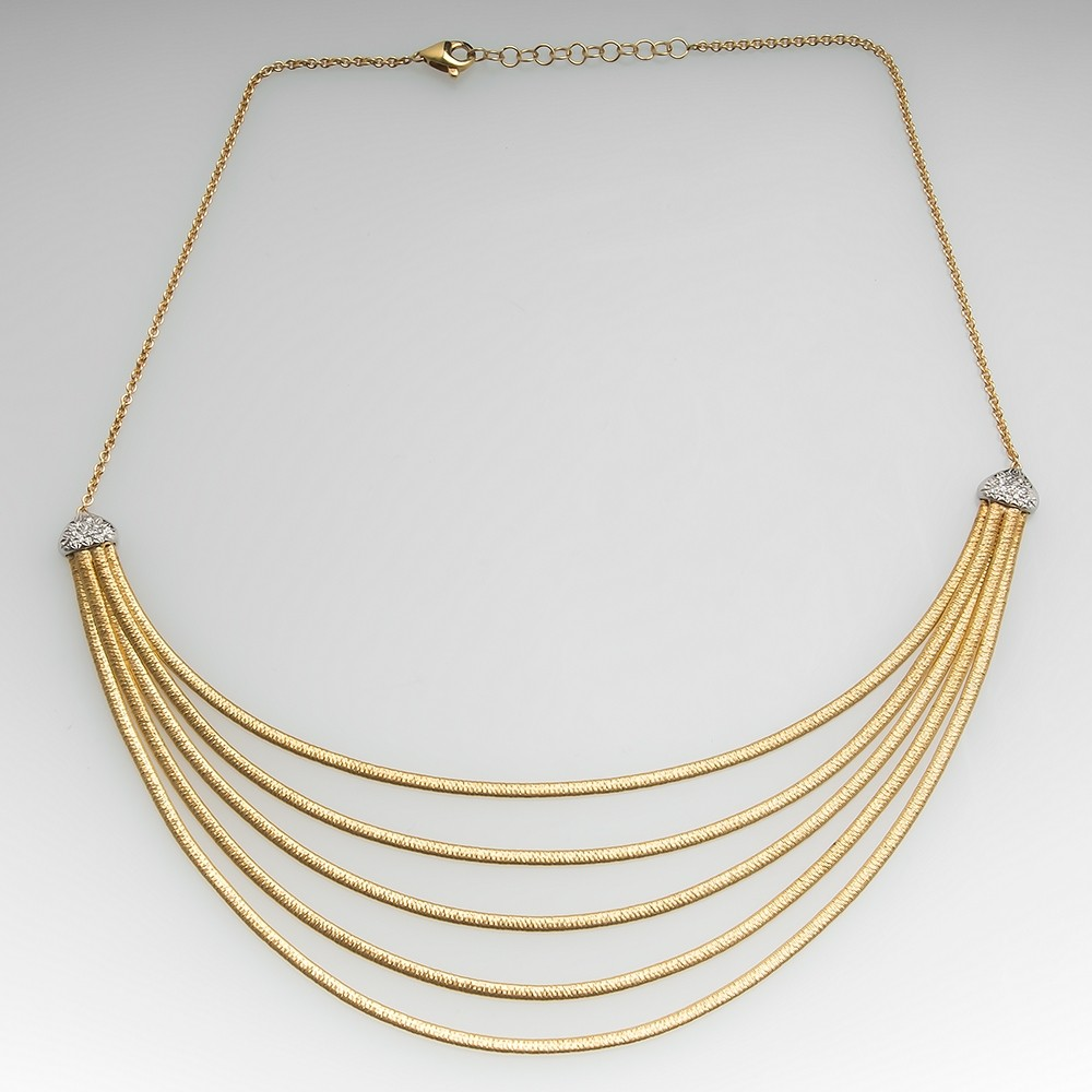 Marco Bicego 18K Yellow Gold & Diamond Five Strand Collar Necklace