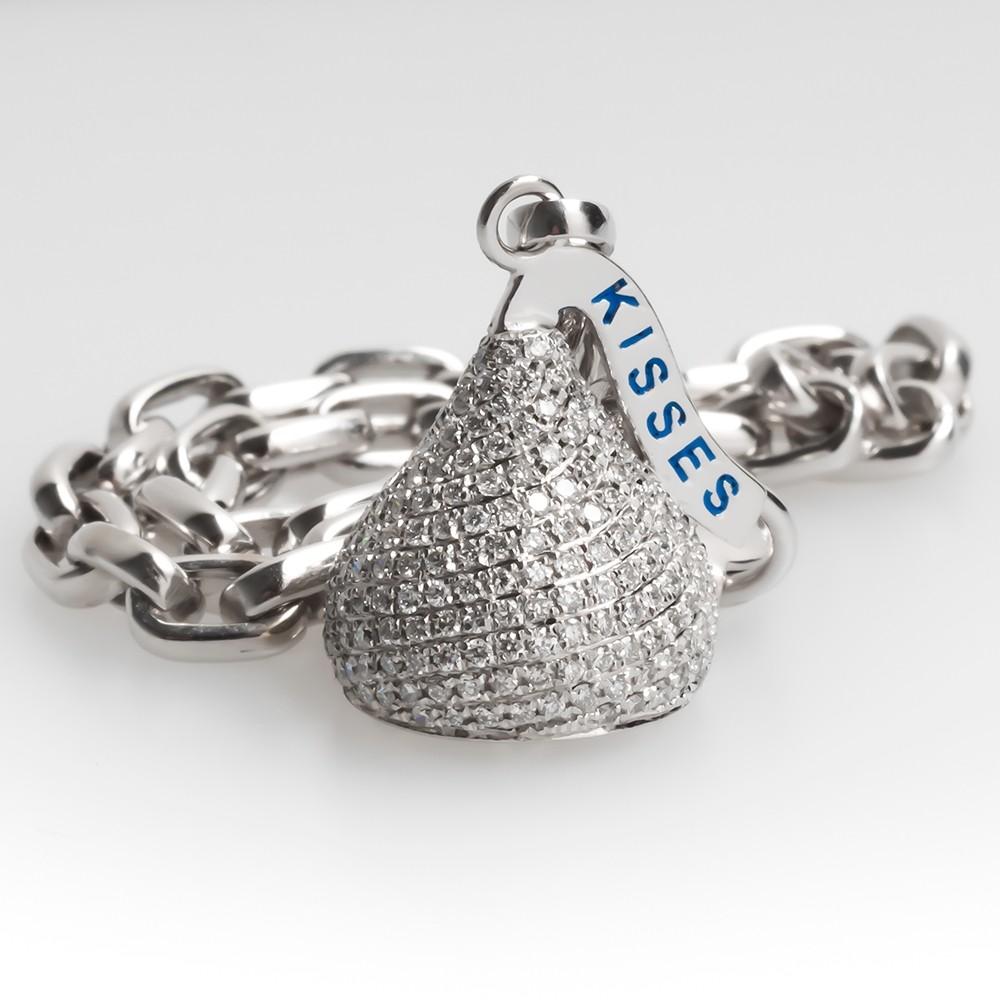 Diamond Kisses Charm Bracelet 14K White Gold