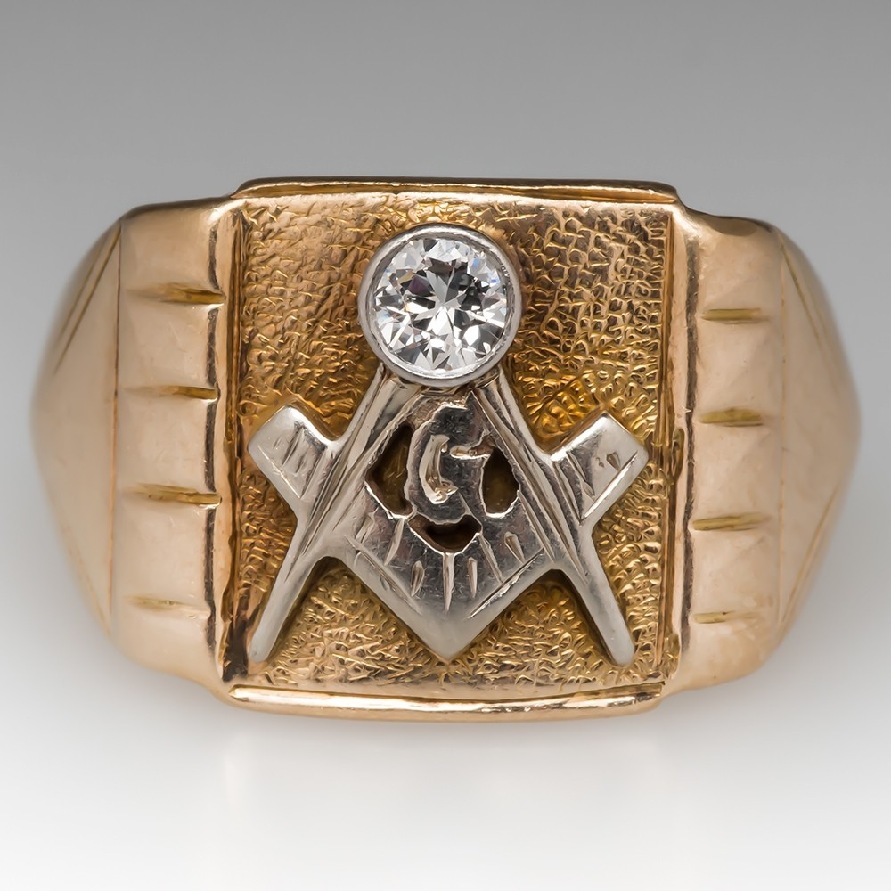 Vintage Antique Mens Masonic Diamond Ring 14K Gold