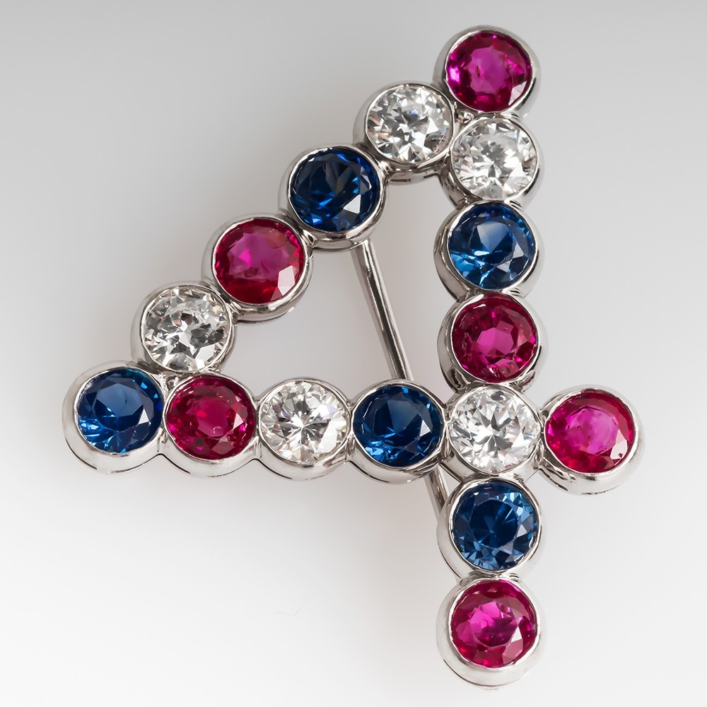 4th of July Independence Day Pin William Ruser Ruby Sapphire Diamond Platinum
