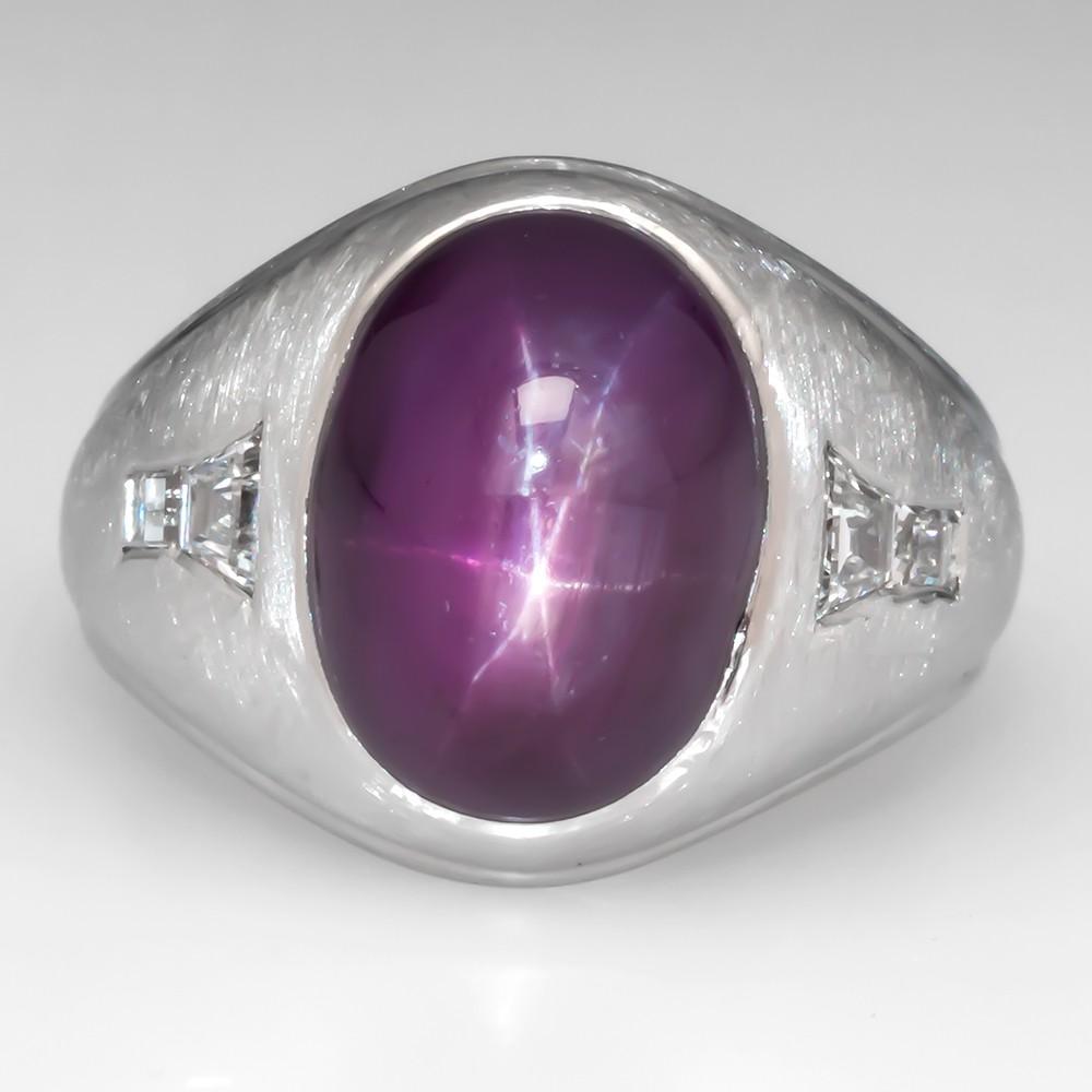 Unheated Star Ruby Mens Ring