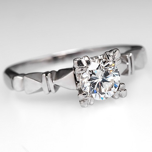 Vintage Round Brilliant Diamond Platinum Ring