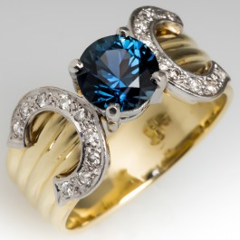 Peacock Colored Sapphire And Diamond Wide Band Ring 18k Gold