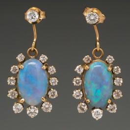 Antique Opal Amp Diamond Dangle Earrings 14k Gold