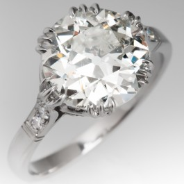 Crown Motif Antique Engagement Ring Platinum 3 Carat
