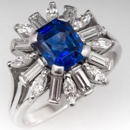 Vintage Blue Sapphire Amp Diamond Cluster Cocktail Ring 18k