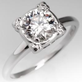 Illusion Set Vintage Diamond Solitaire Engagement Ring 14k
