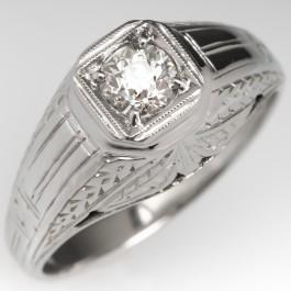 Old Euro Diamond Art Deco Mens Ring Engraved 18k White Gold