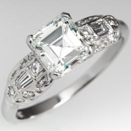 6f9bed79c1775 Square Emerald Cut Vintage Diamond Engagement Ring Platinum GIA